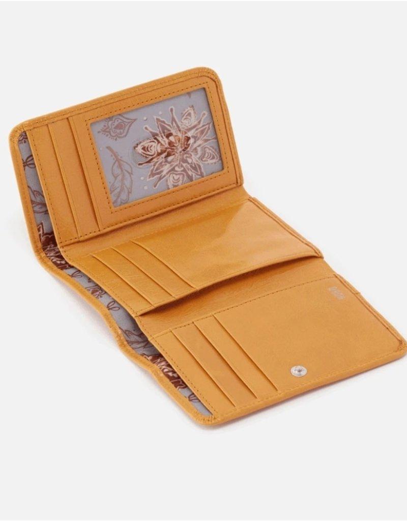 HOBO Jill Small Trifold Wallet in Mustard Leather