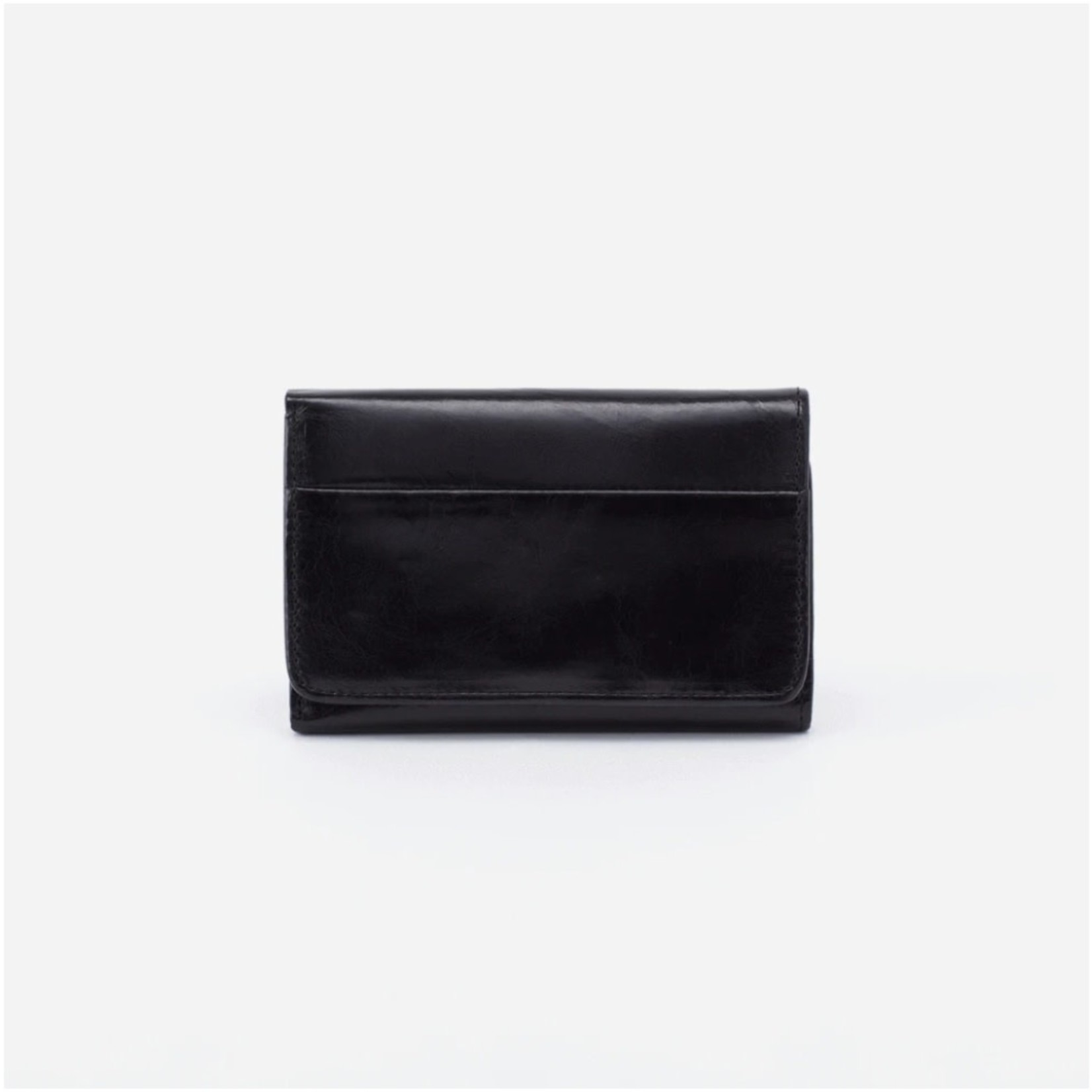HOBO Jill Small Trifold Wallet in Black Leather