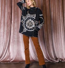Gabby Isabella Black Hooded Cardigan w/ Gold and Cream Jacquard Print