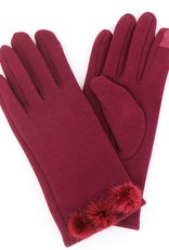 Fleece Gloves w/ 3 Fur PomPoms