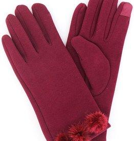 Jack & Missy Modern Vintage Burgundy Fleece Gloves w/ 3 Fur PomPoms