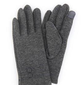 Jack & Missy Modern Vintage Grey Fleece Gloves w/ 2 Buttons
