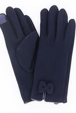 Navy Fleece Bow Gloves