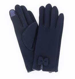 Navy Fleece Bow Gloves