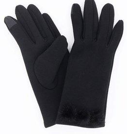 Black Fleece Gloves w/ 3 Fur PomPoms