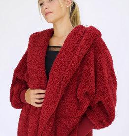 Nordic Beach Fuzzy Fleece Hooded Cardigan in Red Velvet