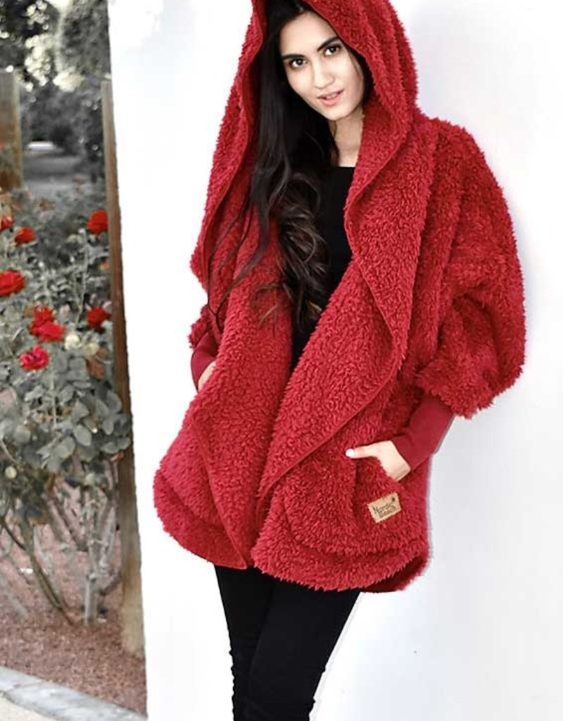 Nordic Beach Fuzzy Fleece Hooded Cardigan in Red Velvet