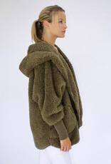 Nordic Beach Fuzzy Fleece Hooded Cardigan in Olive U