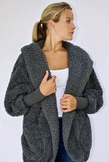 Nordic Beach Fuzzy Fleece Hooded Cardigan in Koala Grey