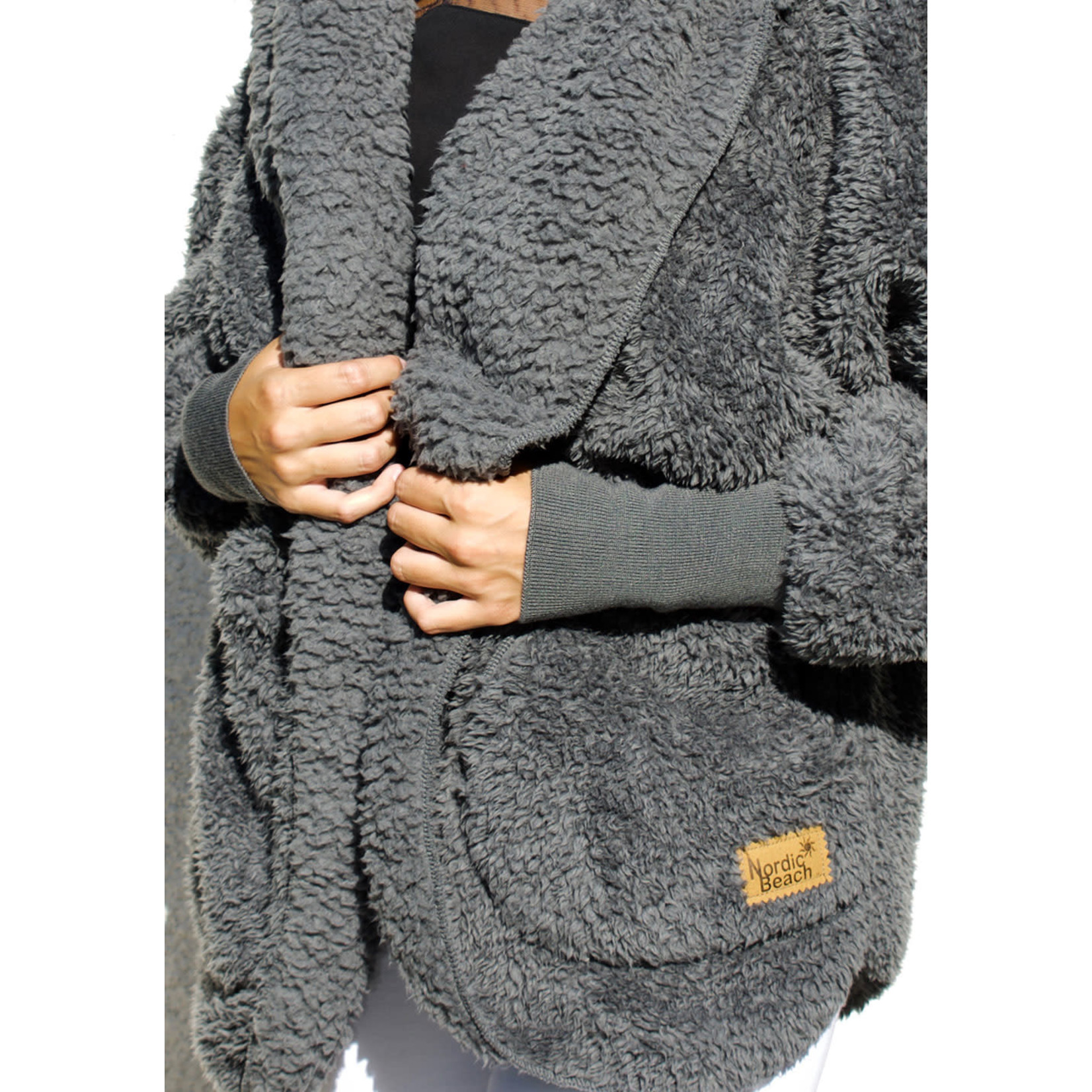 Nordic Beach Fuzzy Fleece Hooded Cardigan in Koala Grey