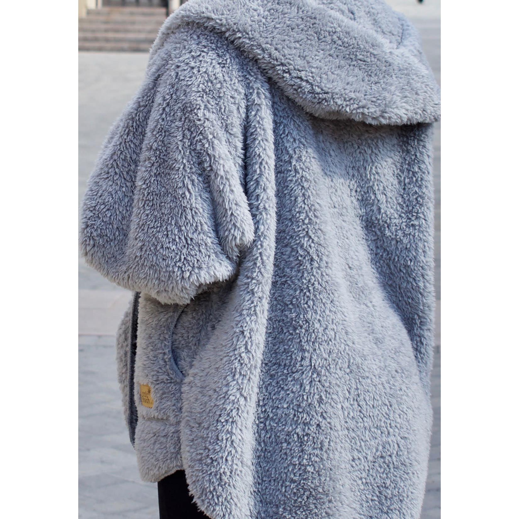 Nordic Beach Fuzzy Fleece Hooded Cardigan in Grey Kitten