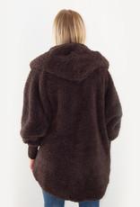 Nordic Beach Fuzzy Fleece Hooded Cardigan in Dark Chocolate