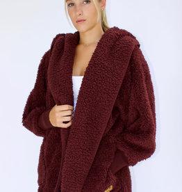 Nordic Beach Fuzzy Fleece Hooded Cardigan in Chocolate Cherry
