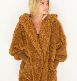 Nordic Beach Fuzzy Fleece Hooded Cardigan in Butterscotch