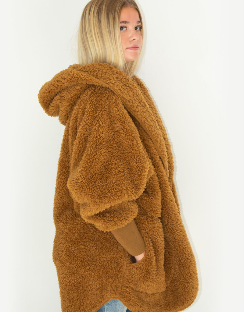 Nordic Beach Fuzzy Fleece Hooded Cardigan in Butterscotch