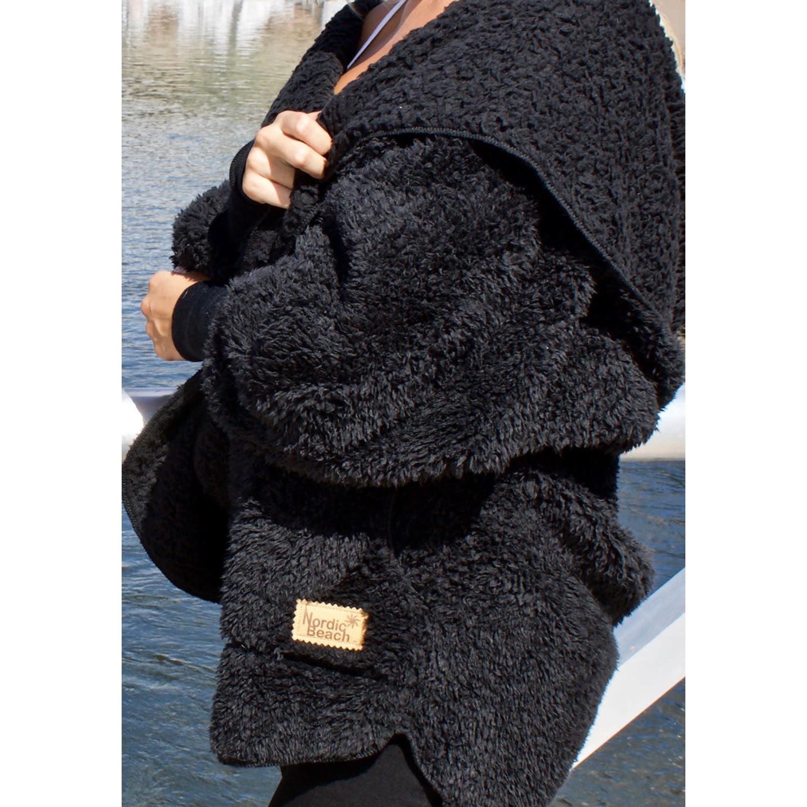 Nordic Beach Fuzzy Fleece Hooded Cardigan in Black Licorice