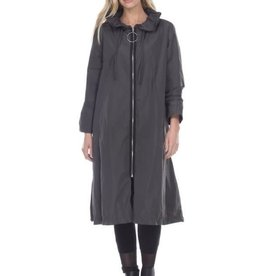 Reina Lee Charcoal Long Parachute Cloth Jacket w/ Adjustable Crinkle Collar