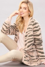 Charlie Paige Tiger Stripe Eyelash Cardigan in Blush