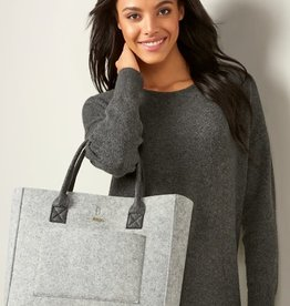 Charlie Paige Grey Felt Bag with Black Handles