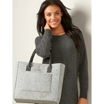Charlie Paige Grey Felt Bag with Brown Handles