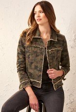 Charlie Paige Camo Woven Jacket With Raw Edges