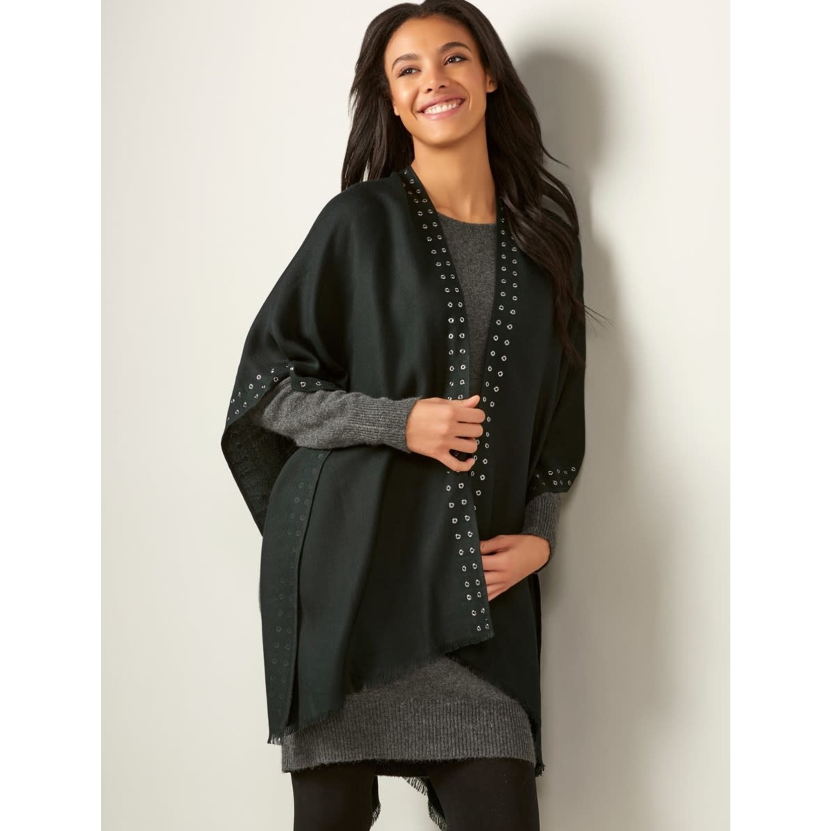 Charlie Paige Silver Grommet Trimmed Soft City Cape in Black/ One Size