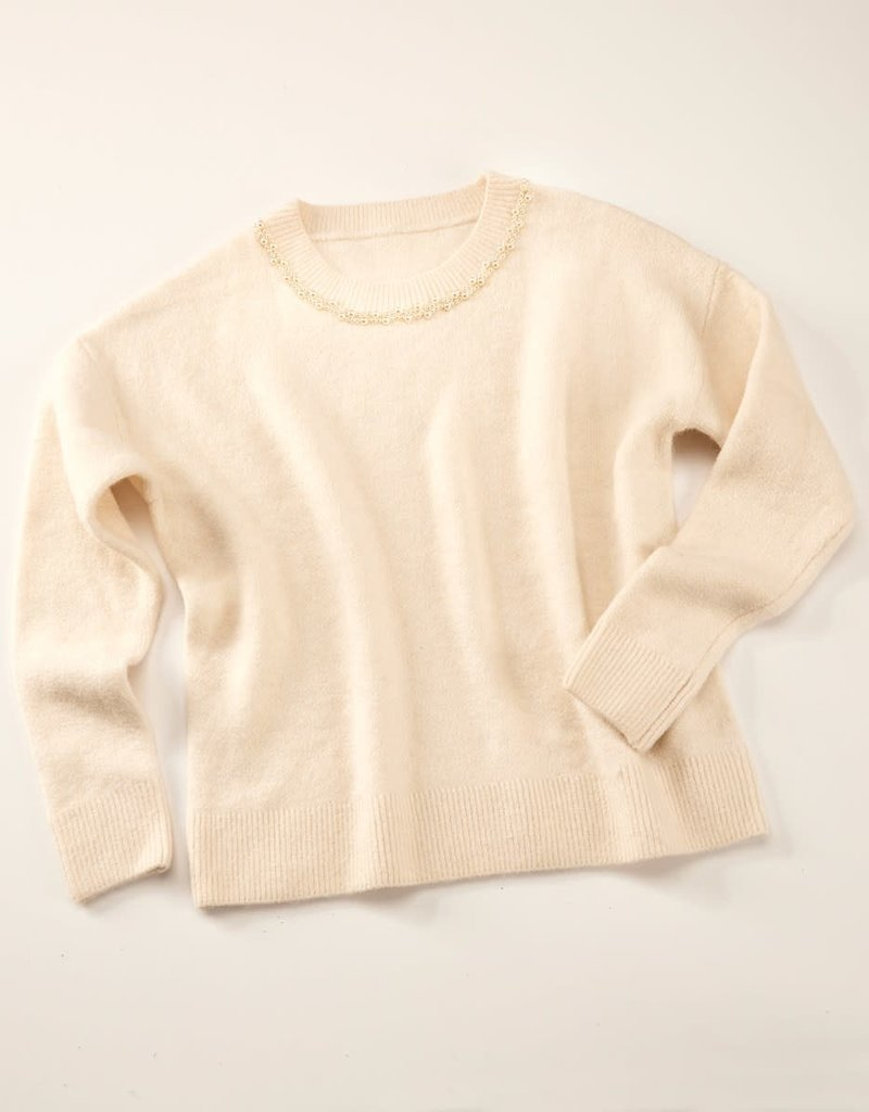 Charlie Paige Pearl Trim Crew Collar Sweater in Ivory