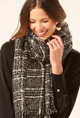 Charlie Paige Soft Plaid Blanket Scarf in Black & Metallic