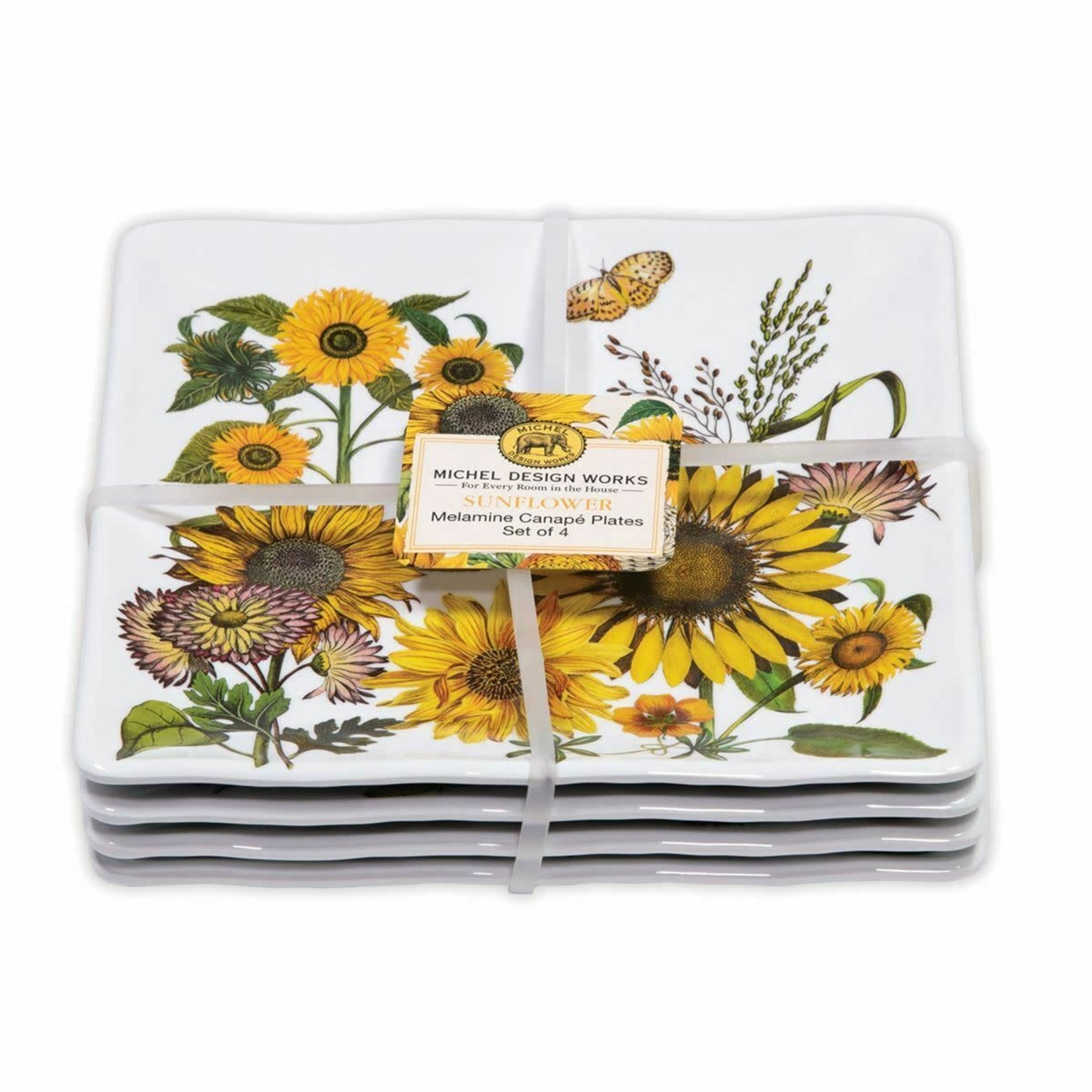 Michel Design Works Sunflower Melamine Set of 4 Canape Plates