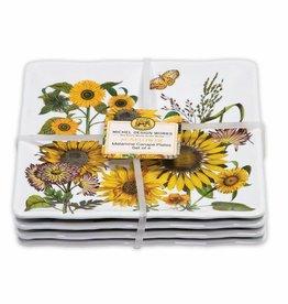 Sunflower Melamine Set of 4 Canape Plates