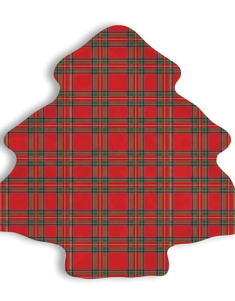 Tartan Melamine Christmas Tree Plate