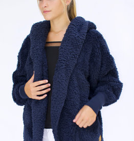 Nordic Beach Fuzzy Fleece Hooded Cardigan in Midnight Navy