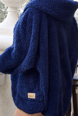 Nordic Beach Fuzzy Fleece Hooded Cardigan in Midnight Navy