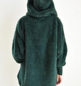 Nordic Beach Fuzzy Fleece Hooded Cardigan in Emerald Forest