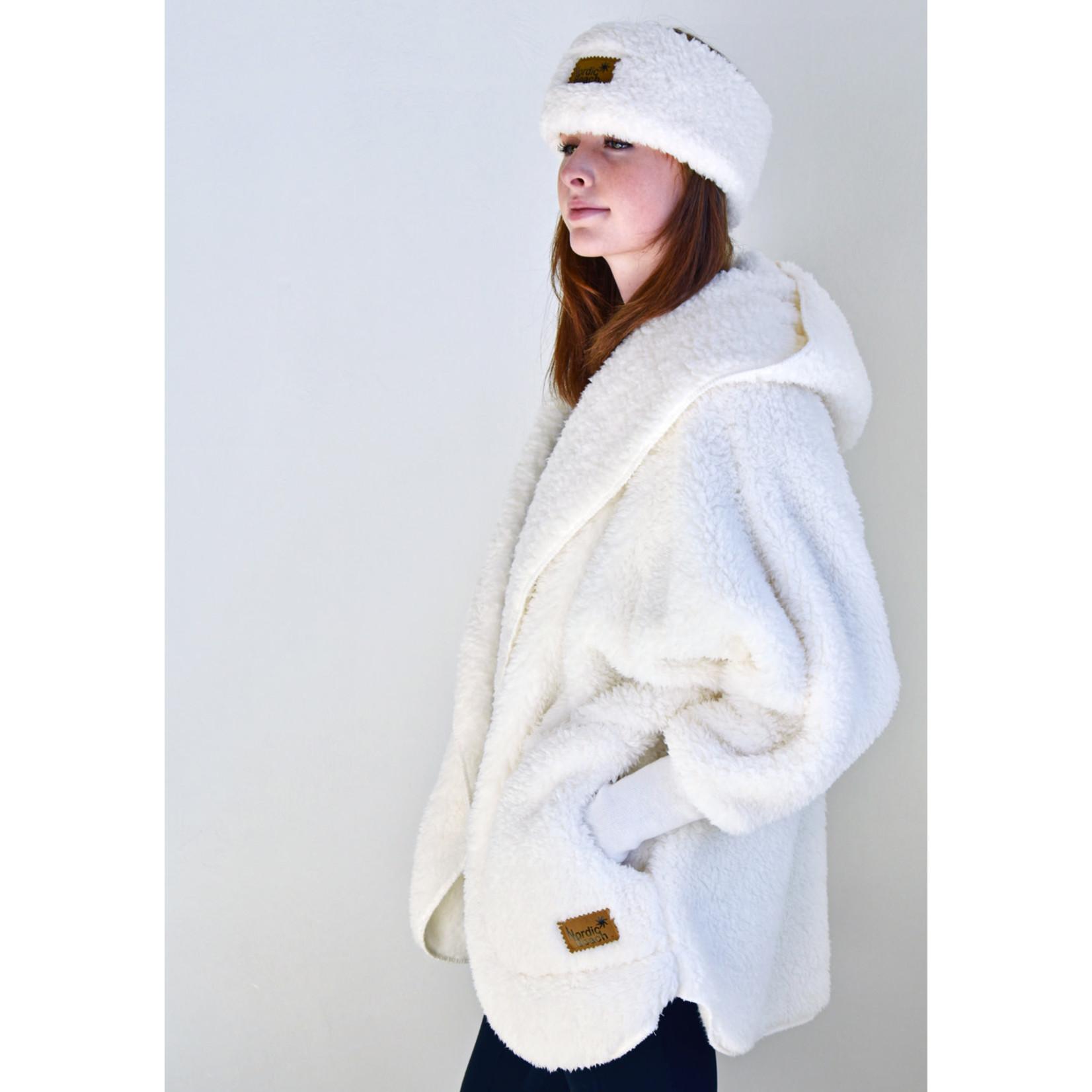 Nordic Beach Fuzzy Fleece Hooded Cardigan in Nordic Snow