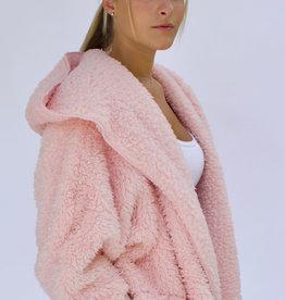 Nordic Beach Fuzzy Fleece Hooded Cardigan in Pink Heaven