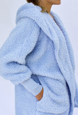 Nordic Beach Fuzzy Fleece Hooded Cardigan in Cashmere Blue