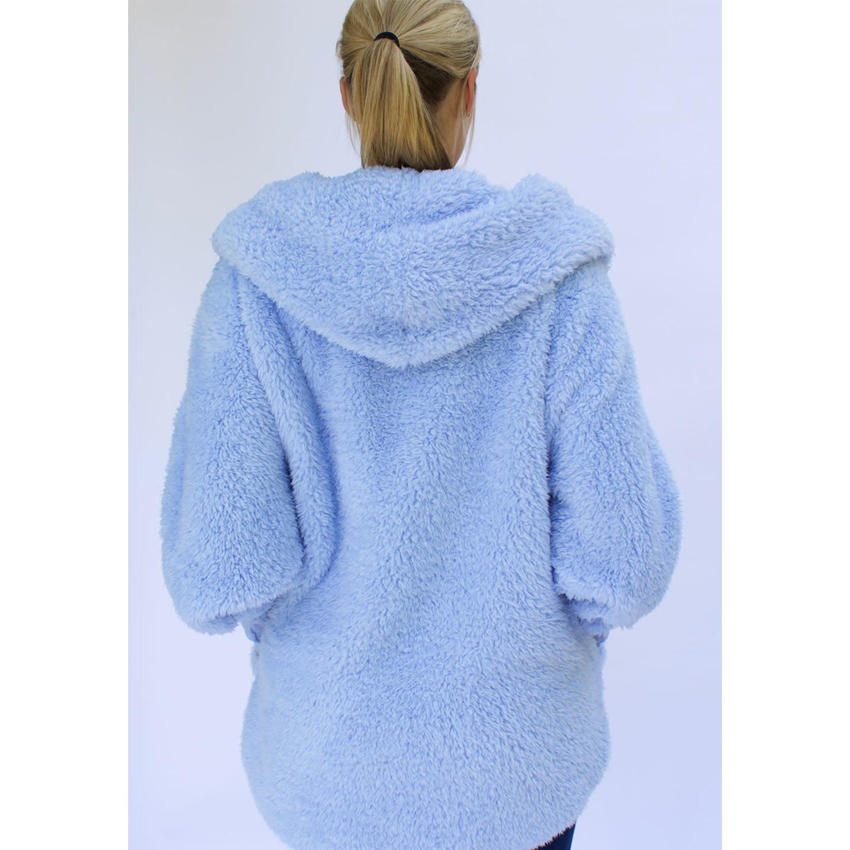 Nordic Beach Fuzzy Fleece Hooded Cardigan in Cashmere Blue