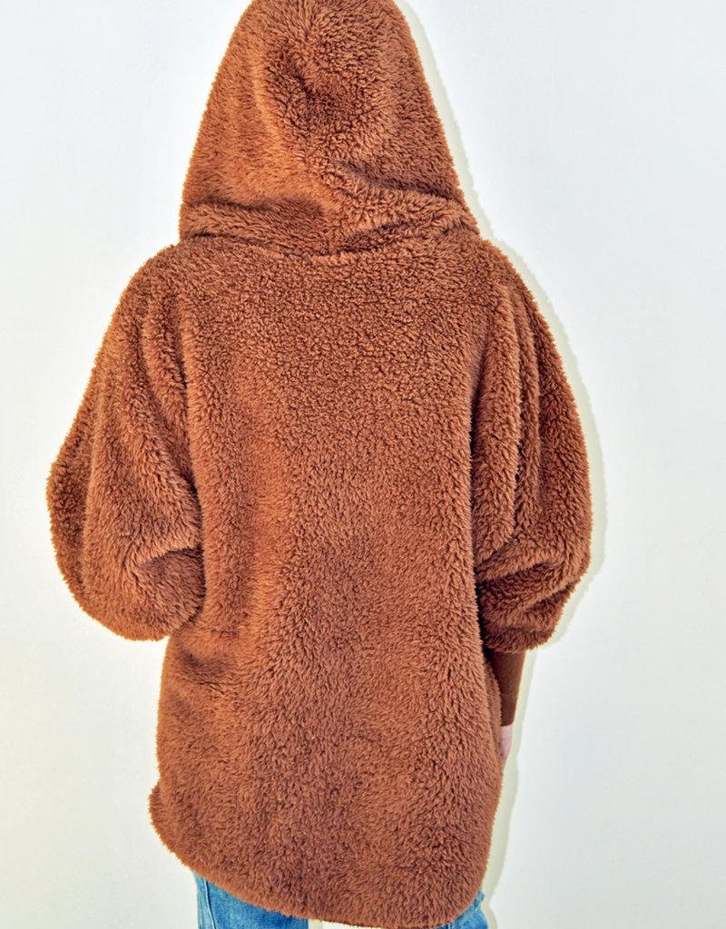 Nordic Beach Fuzzy Fleece Hooded Cardigan in Fall Harvest