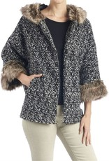 Black and White Speckled Jacket w/ Tan Faux Fur Hood and Sleeves O/S