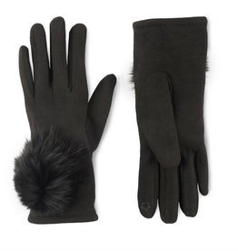 Microsuede and Angora Touchscreen Gloves - Black