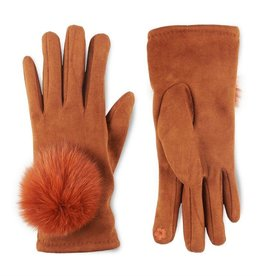 Microsuede and Angora Touchscreen Gloves - Sierra
