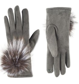 Microsuede and Angora Touchscreen Gloves - Charcoal