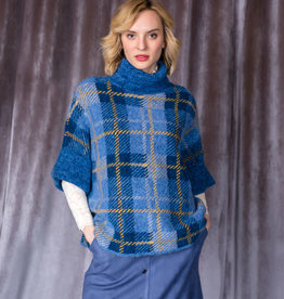 Gabby Isabella Blue Plaid Turtleneck Sweater w/ Wide Cuff Short Sleeve