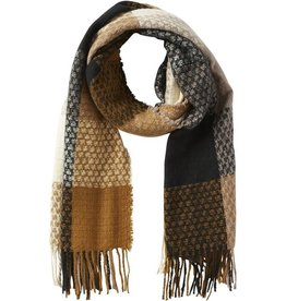 Tickled Pink Gold and Black Oakley Plaid Fringe Scarf w/ Herringbone Detail