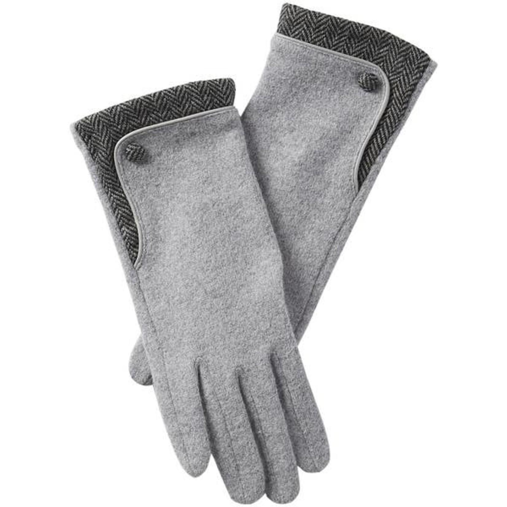 Grey Herringbone Wool Button Gloves