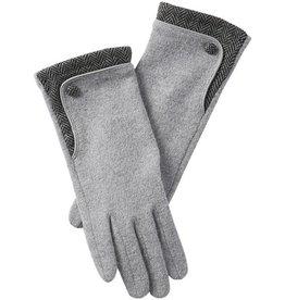 Tickled Pink Grey Herringbone Wool Button Gloves