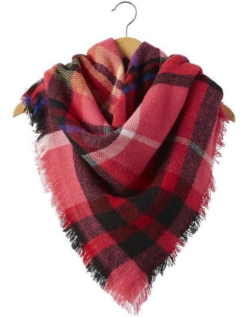 Tickled Pink Magenta Plaid Blanket Scarf
