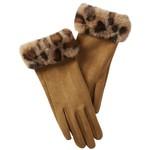Tawny Fuzzy Leopard  Trim Gloves