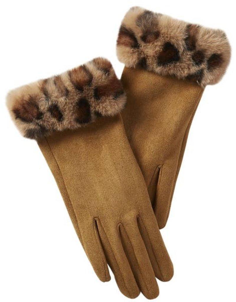 Tickled Pink Tawny Fuzzy Leopard  Trim Gloves